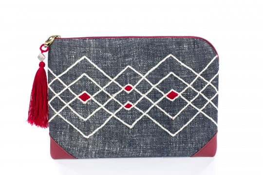 Hand Woven Cotton with Black Color Dyes and Black Leather Accent