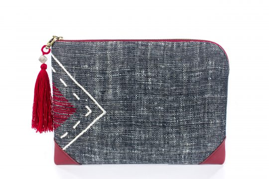 Tribal Clutch Bag : Hand Woven Cotton with Akha Embroidery and Red Leather Accent
