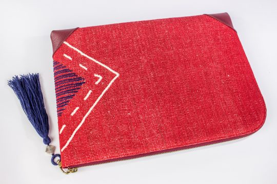 Hand Woven Cotton with Akha Embroidery and Red Leather Accent