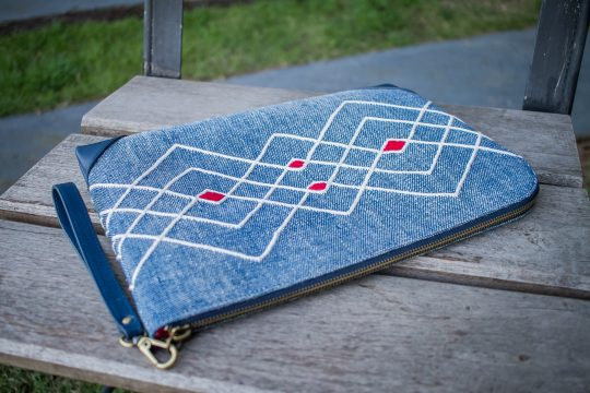 Hand Woven Cotton with Indigo Natural Dyes and Blue Leather Accent