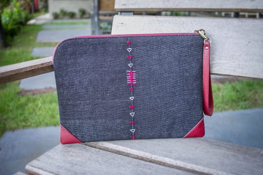 Tribal Clutch Bag : Indigo Hand Woven Cotton with Red Leather Accent