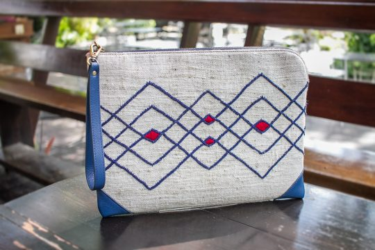 Tribal Clutch Bag : Hand Woven Natural Cotton with Blue Leather Accent
