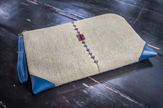 Tribal Clutch Bag : Yellow Hand Woven Cotton with Blue Leather Accent