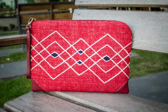 Hand Woven Red Cotton with Tribal Style Embroidery and Red Leather Accent