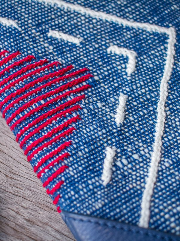 Tribal Clutch Bag : Hand Woven Cotton with Akha Embroidery and Blue Leather Accent