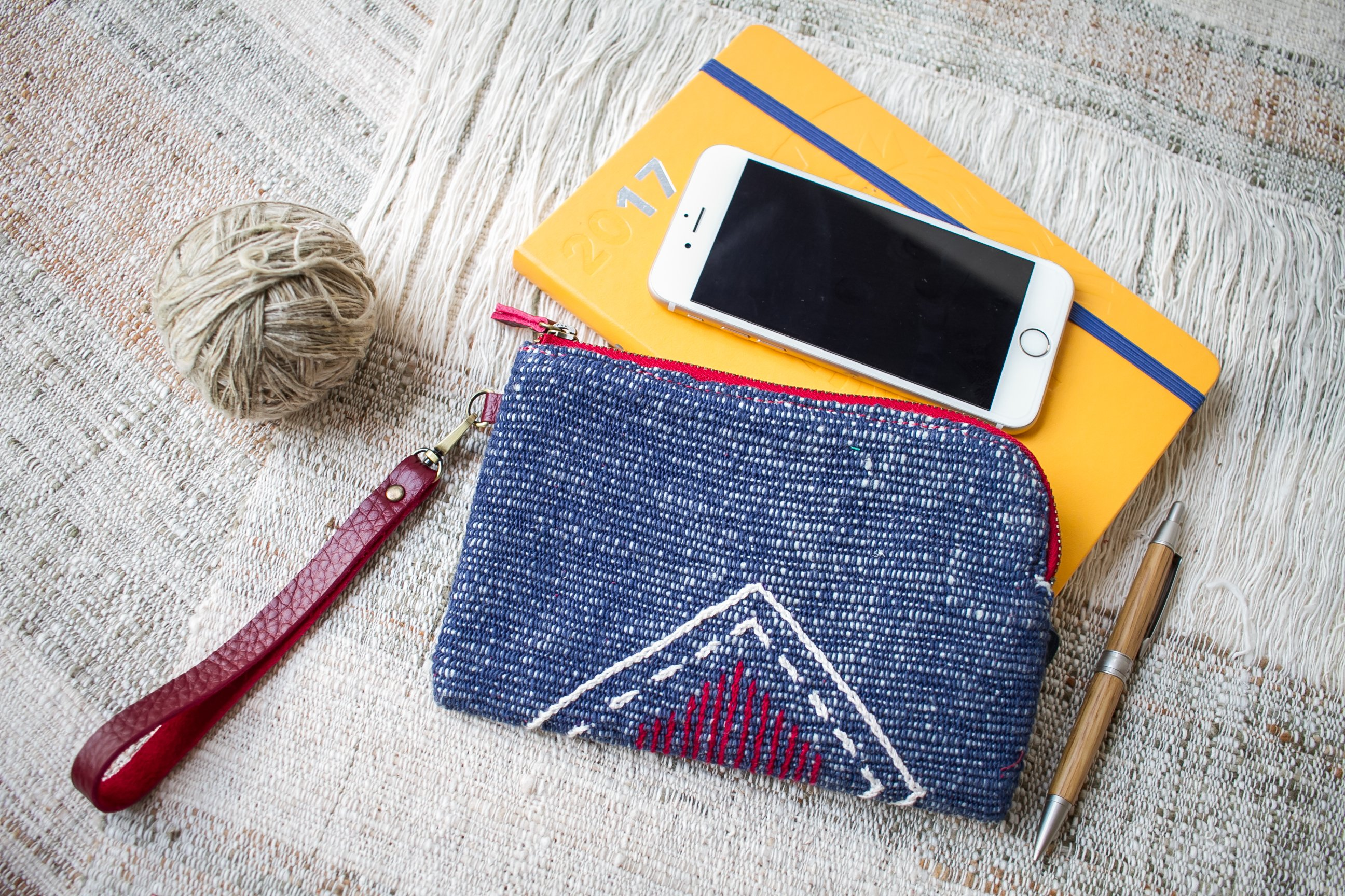 Hand Woven Cotton with Hand Embroidery Wristlet ( Blue color )