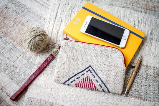 Hand Woven Cotton with Hand Embroidery Wristlet ( Natural Cotton color )