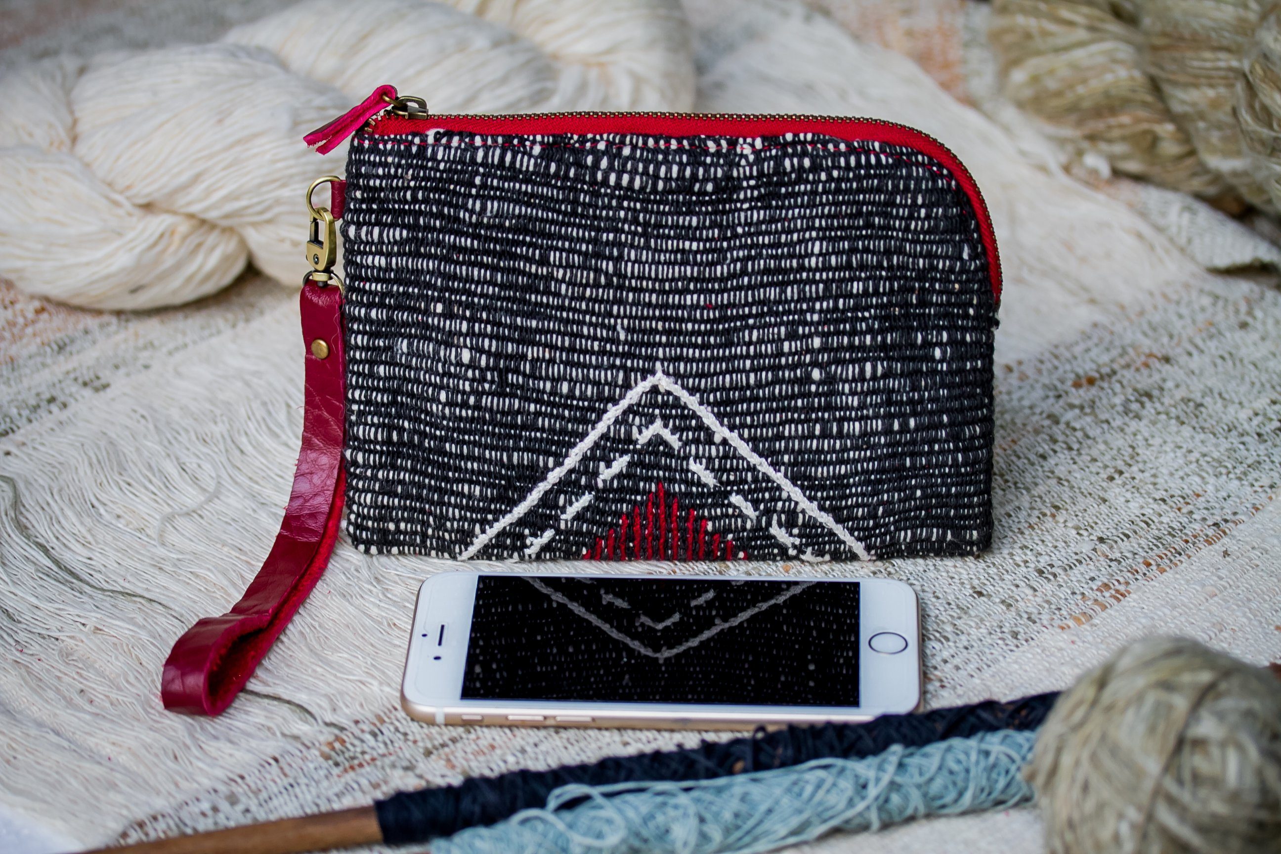 Hand Woven Cotton with Hand Embroidery Wristlet ( Black color )