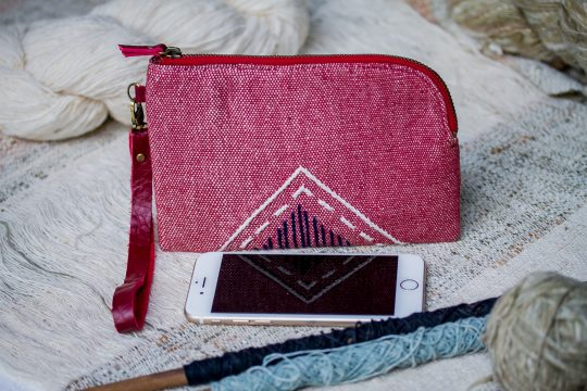 Hand Woven Cotton with Hand Embroidery Wristlet ( Red color )