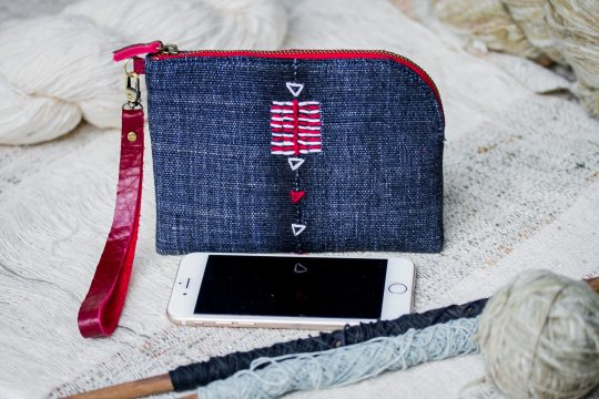 Traditional LUA Fabric wristlet ( Indigo Blue Color )