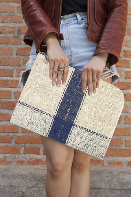 Rice Cycle Collection - Blue Clutch Bag